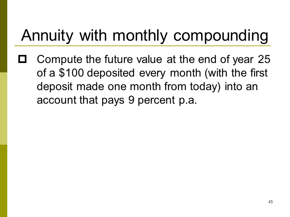 Annuity with monthly compounding