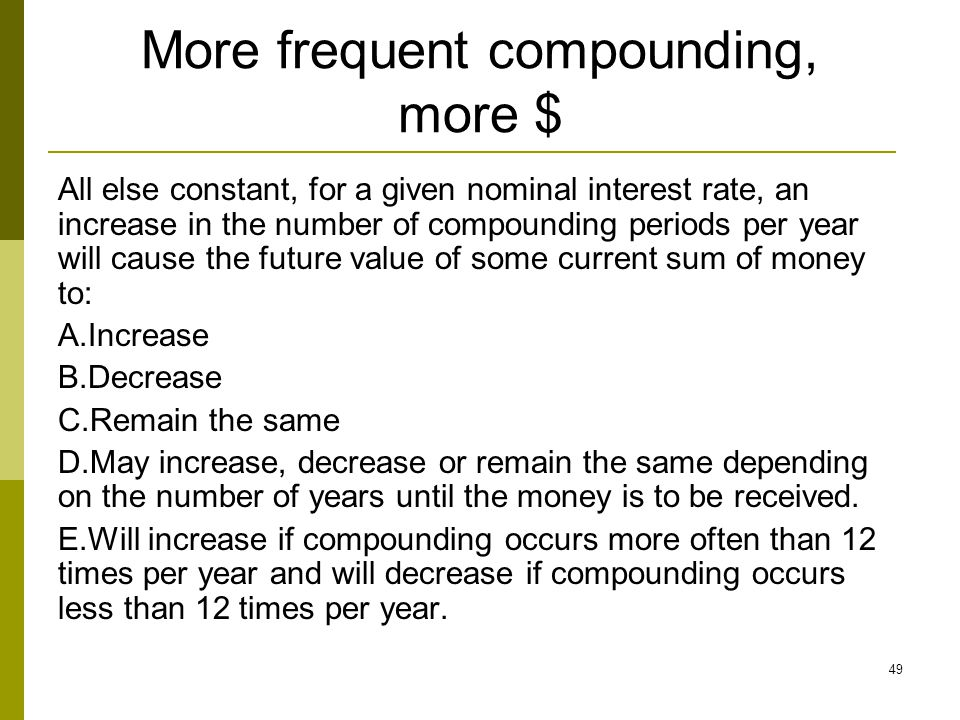 More frequent compounding, more $