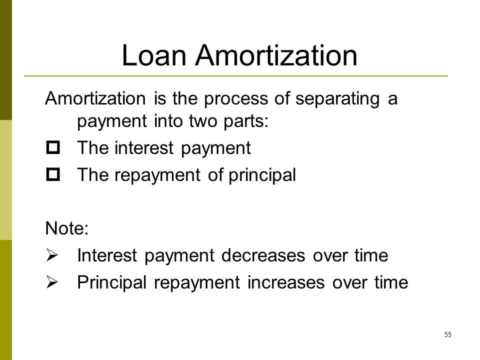 Loan Amortization Amortization is the process of separating a payment into two parts: The interest payment.