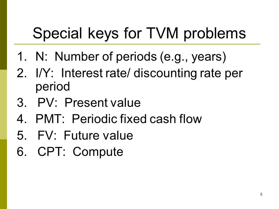 Special keys for TVM problems