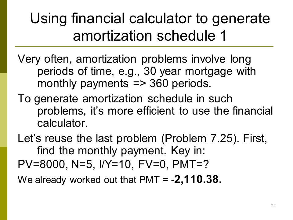 Using financial calculator to generate amortization schedule 1