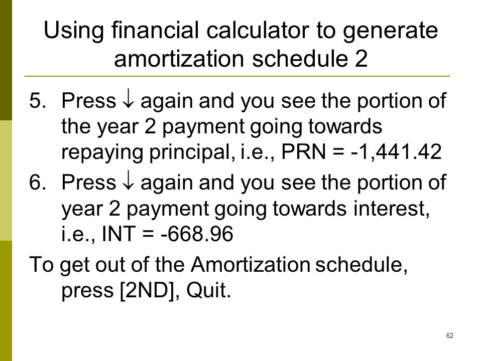 Using financial calculator to generate amortization schedule 2