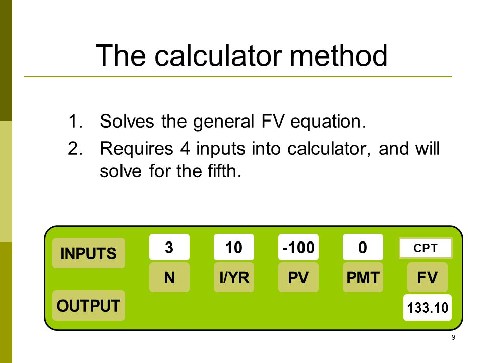 The calculator method Solves the general FV equation.