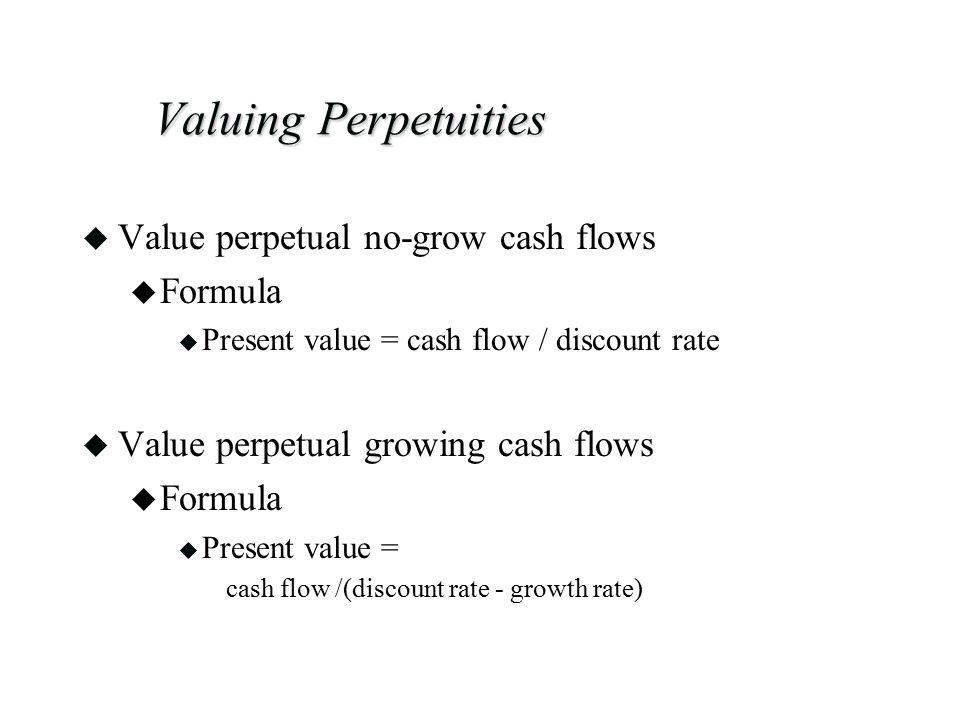 Valuing Perpetuities Value perpetual no-grow cash flows Formula