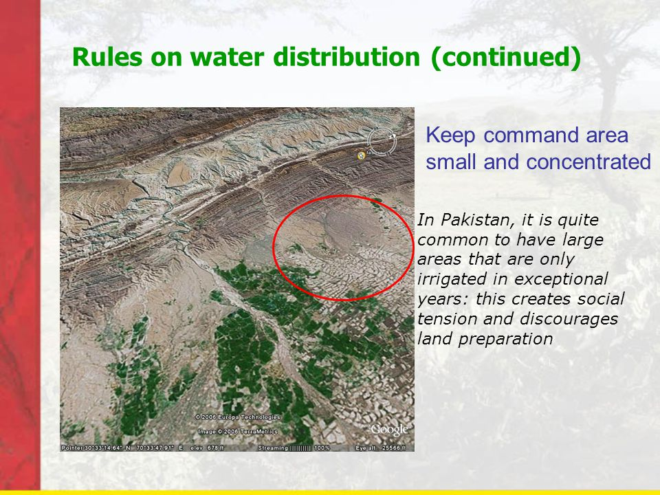 Rules on water distribution (continued)