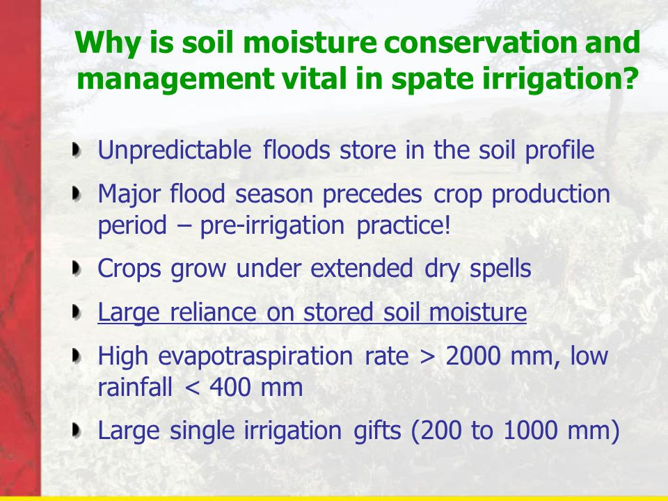 Why is soil moisture conservation and management vital in spate irrigation