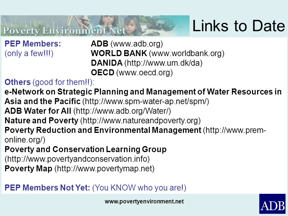 Links to Date PEP Members: ADB (