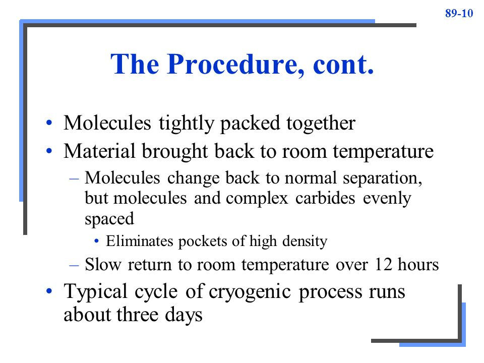 The Procedure, cont. Molecules tightly packed together