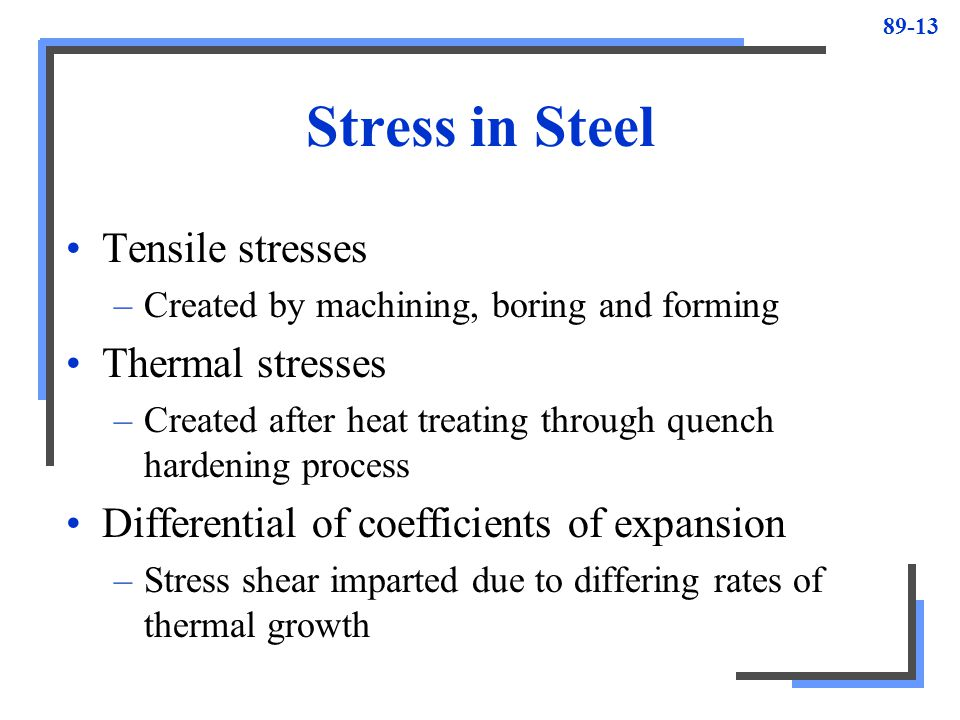 Stress in Steel Tensile stresses Thermal stresses