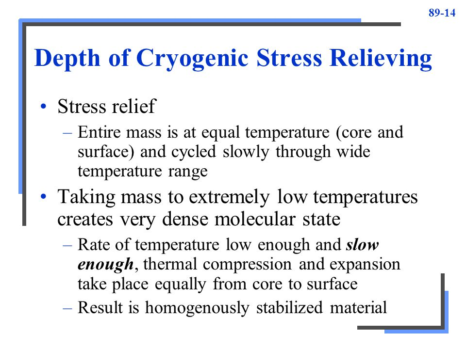 Depth of Cryogenic Stress Relieving