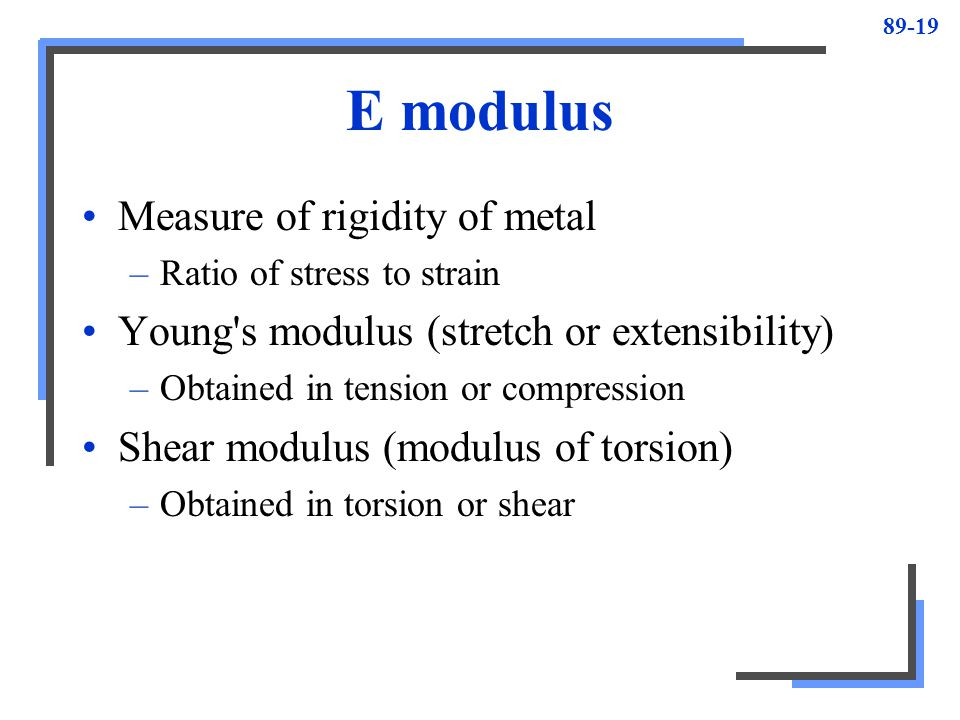 E modulus Measure of rigidity of metal