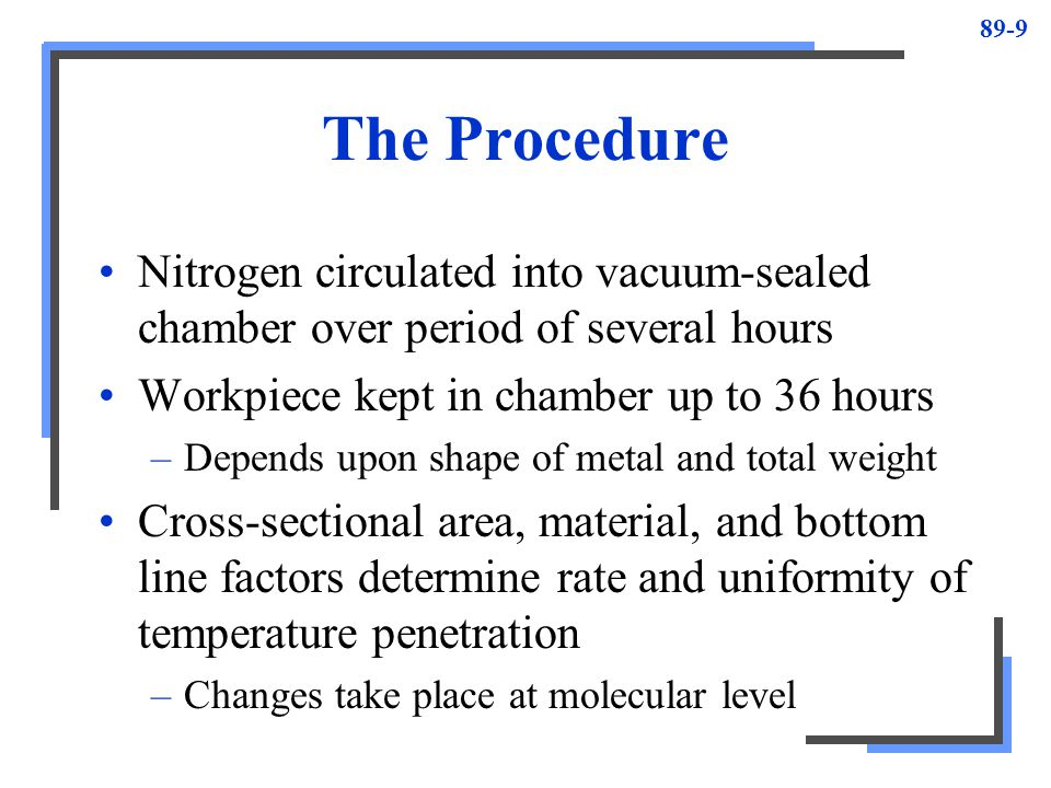 The Procedure Nitrogen circulated into vacuum-sealed chamber over period of several hours. Workpiece kept in chamber up to 36 hours.