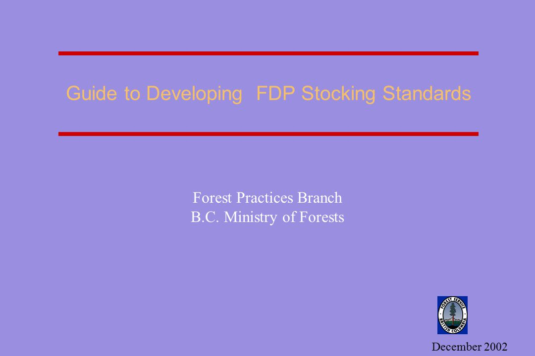 Guide to Developing FDP Stocking Standards