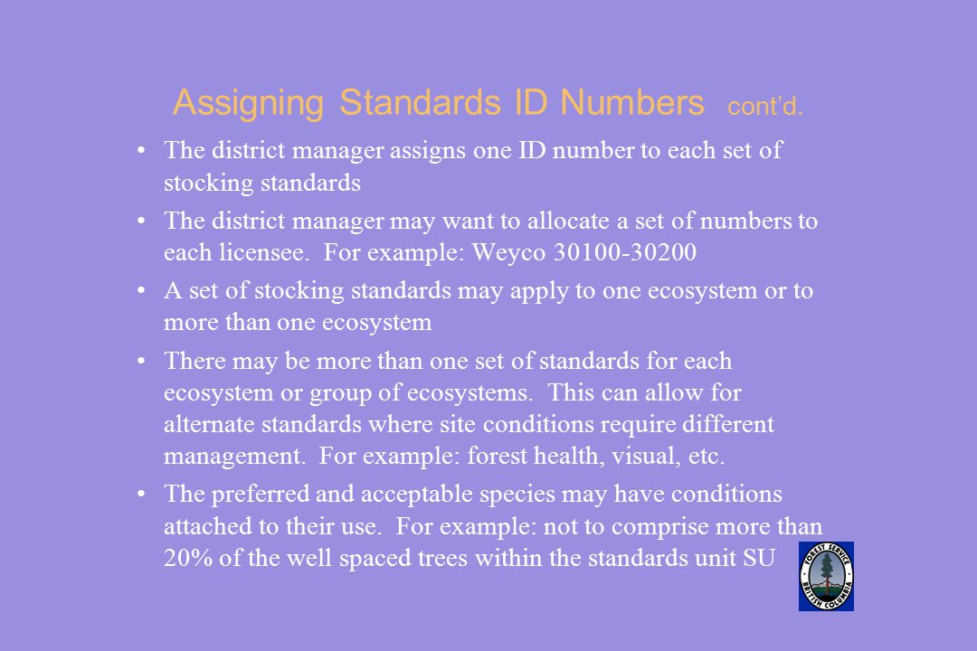 Assigning Standards ID Numbers cont'd.