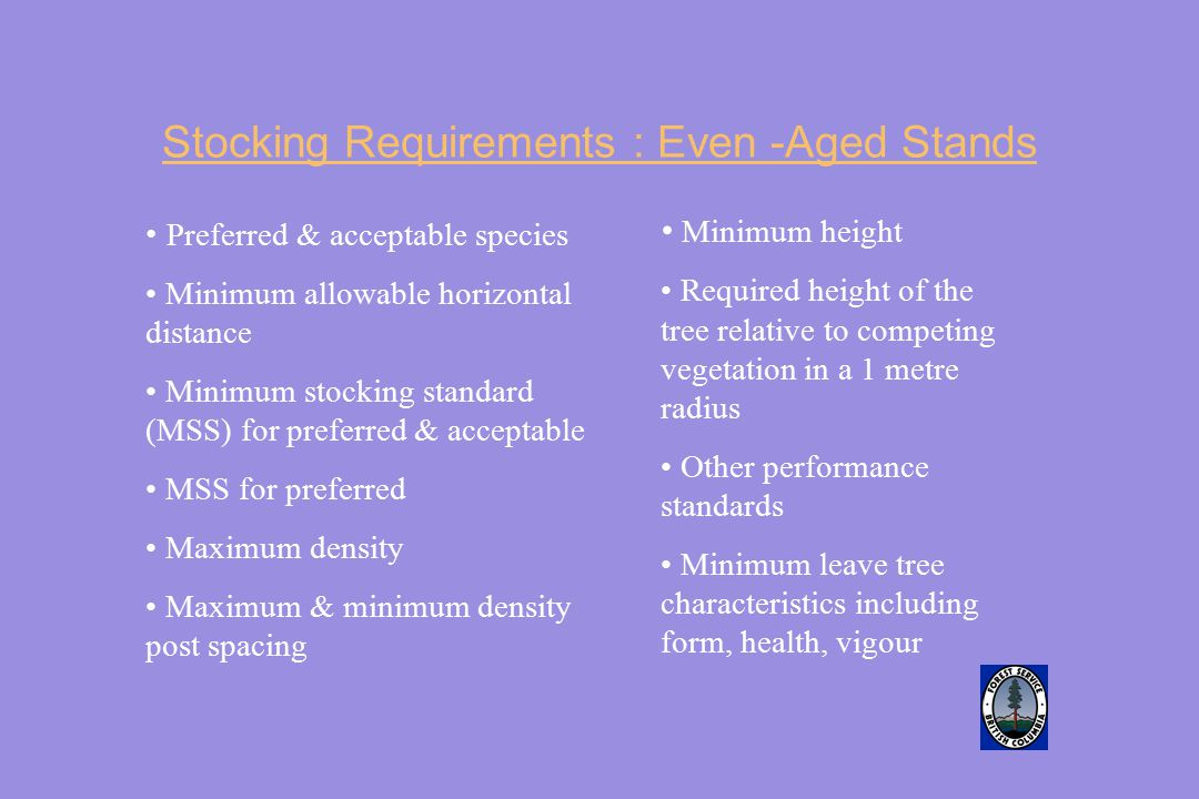 Stocking Requirements : Even -Aged Stands