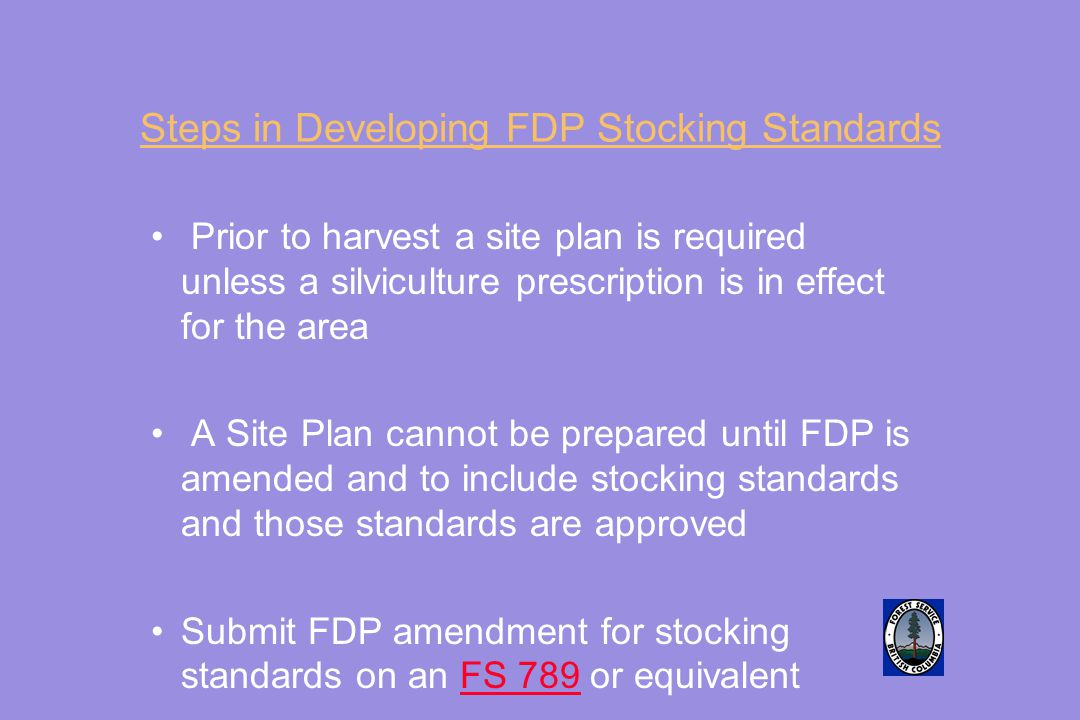 Steps in Developing FDP Stocking Standards