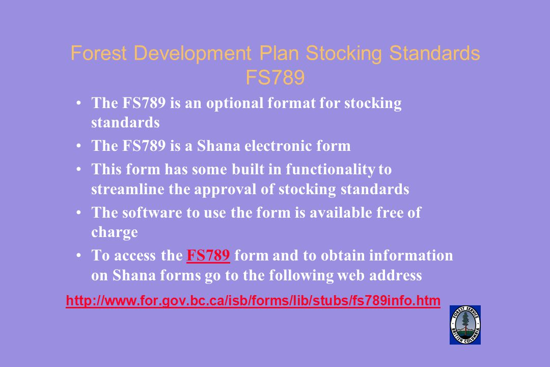 Forest Development Plan Stocking Standards FS789