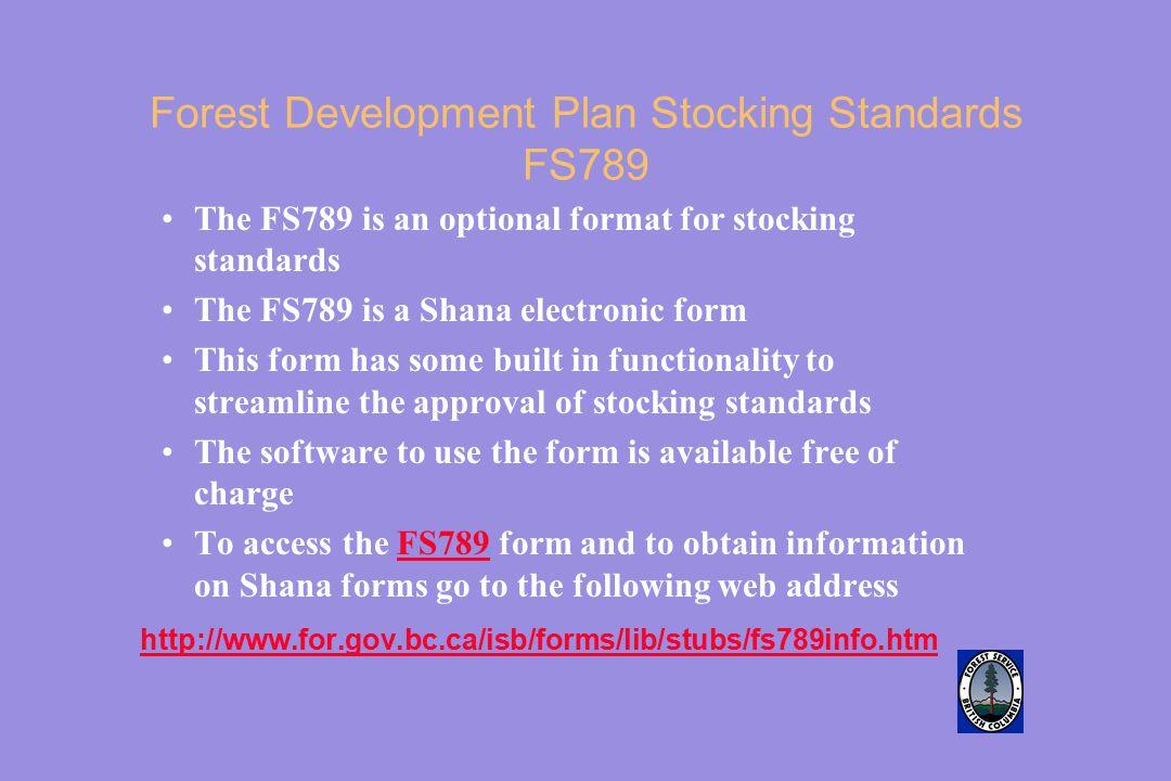 Forest Development Plan Stocking Standards FS789