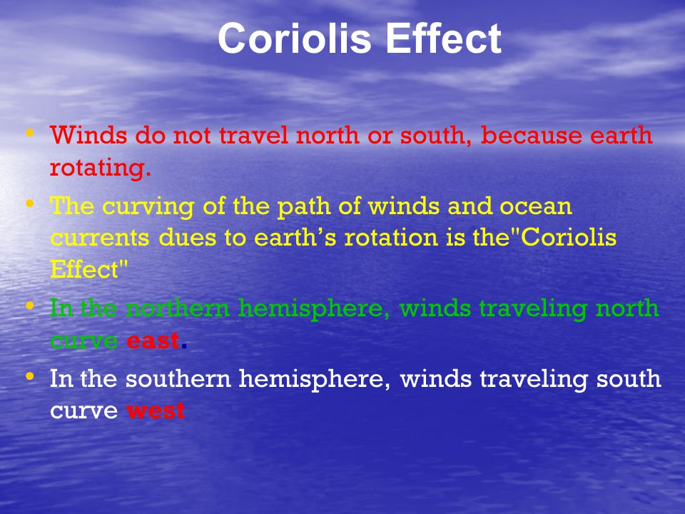 Coriolis Effect Winds do not travel north or south, because earth rotating.