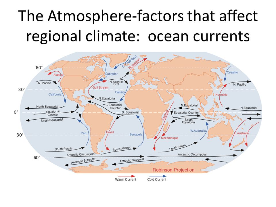The Atmosphere-factors that affect regional climate: ocean currents