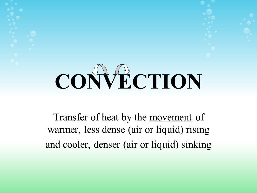 and cooler, denser (air or liquid) sinking