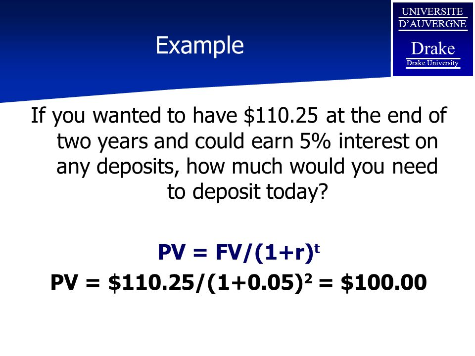 Example If you wanted to have $110.25 at the end of two years and could earn 5% interest on any deposits, how much would you need to deposit today