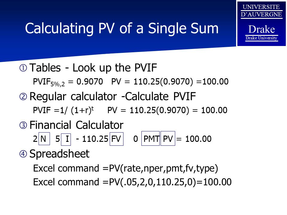 Calculating PV of a Single Sum