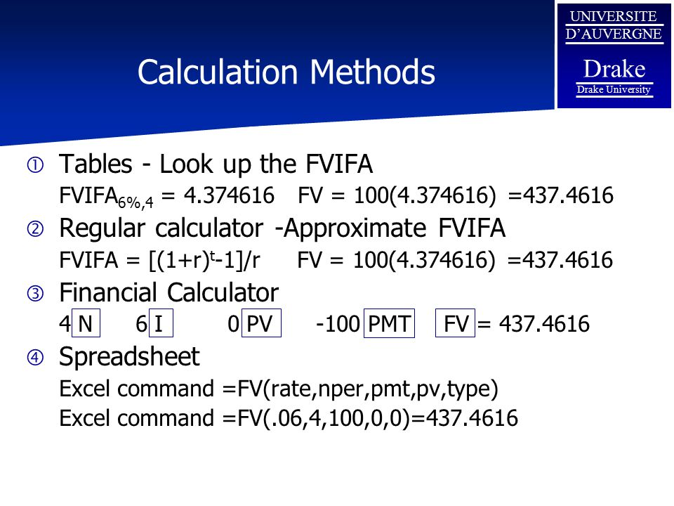 Calculation Methods Tables - Look up the FVIFA