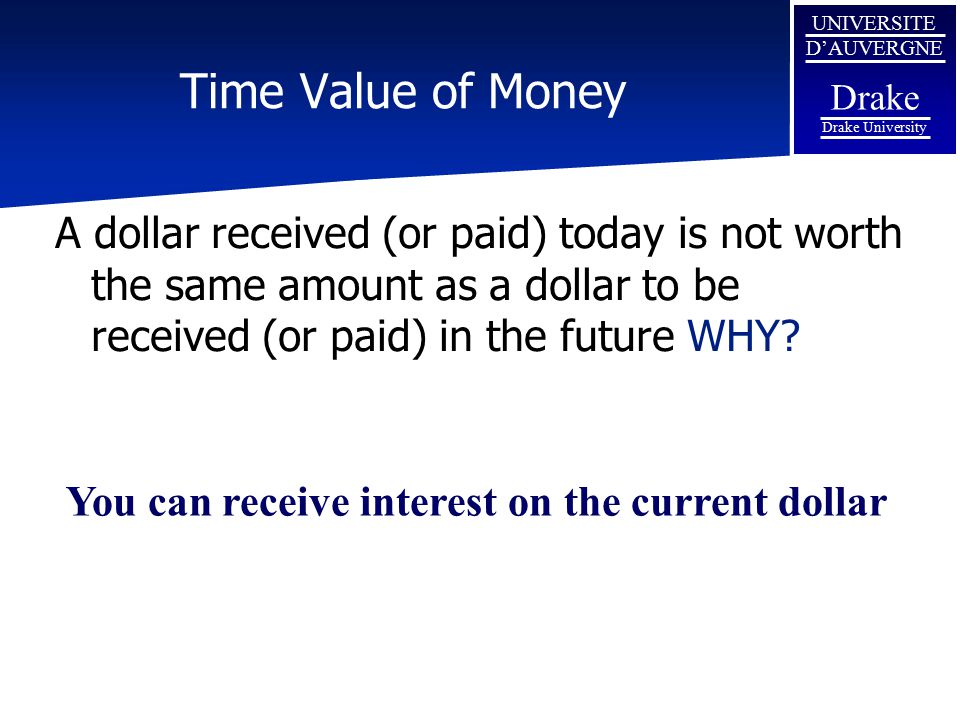 Time Value of Money A dollar received (or paid) today is not worth the same amount as a dollar to be received (or paid) in the future WHY