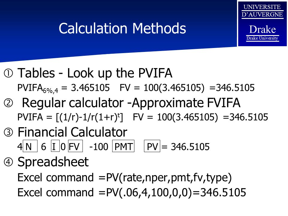 Calculation Methods Tables - Look up the PVIFA