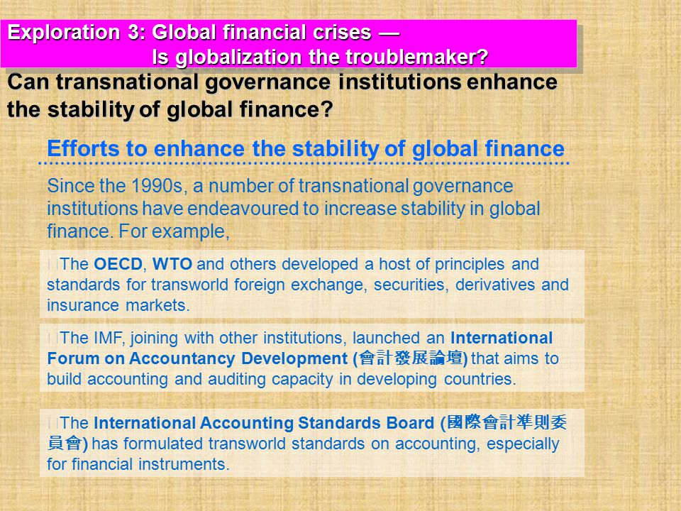 Efforts to enhance the stability of global finance