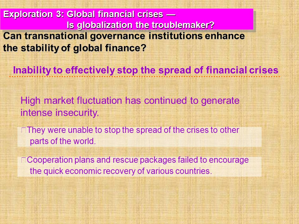 Inability to effectively stop the spread of financial crises
