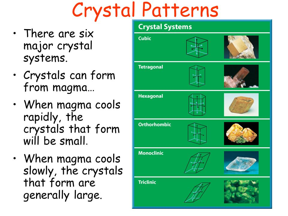 Crystal Patterns There are six major crystal systems.