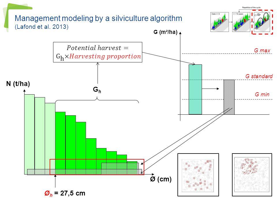 Management modeling by a silviculture algorithm (Lafond et al. 2013)