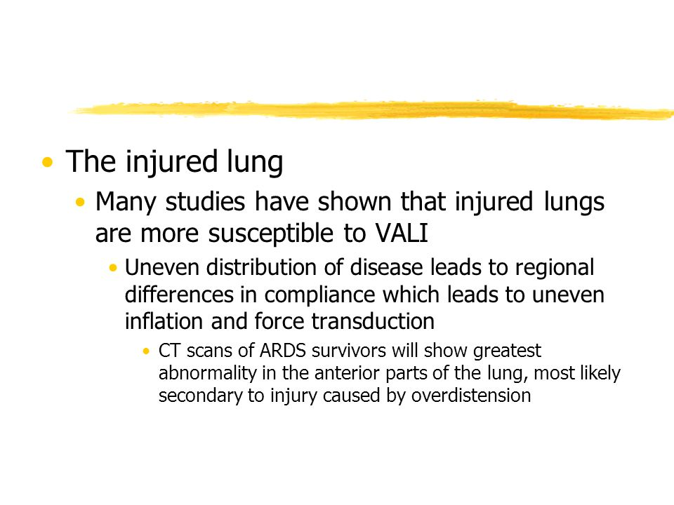 The injured lung Many studies have shown that injured lungs are more susceptible to VALI.