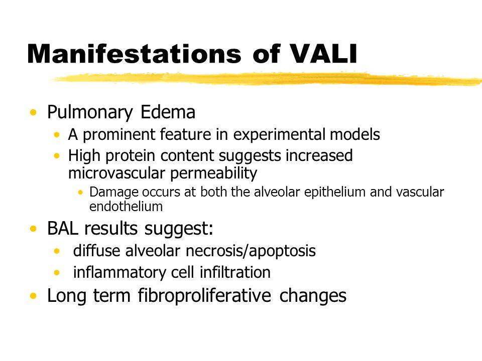 Manifestations of VALI