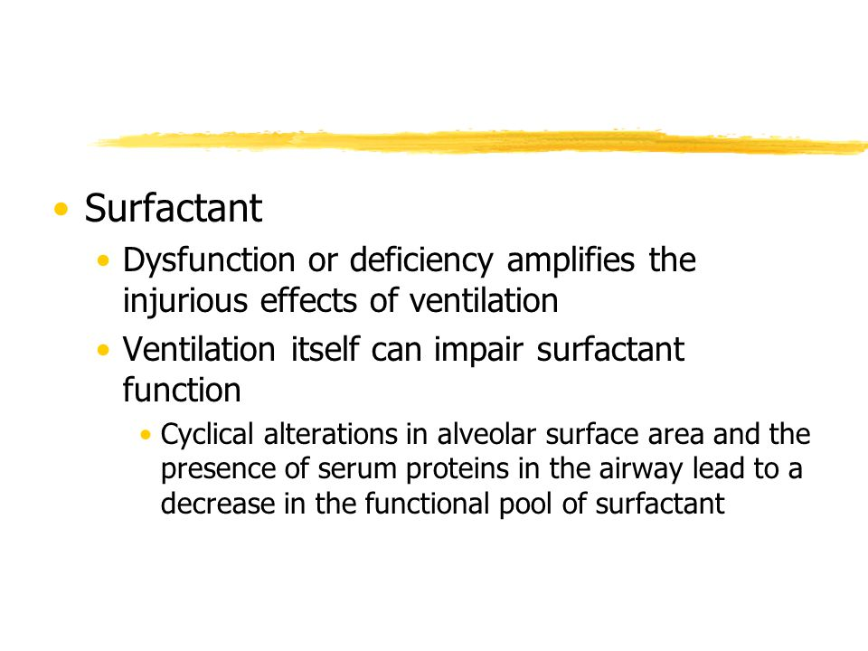 Surfactant Dysfunction or deficiency amplifies the injurious effects of ventilation. Ventilation itself can impair surfactant function.