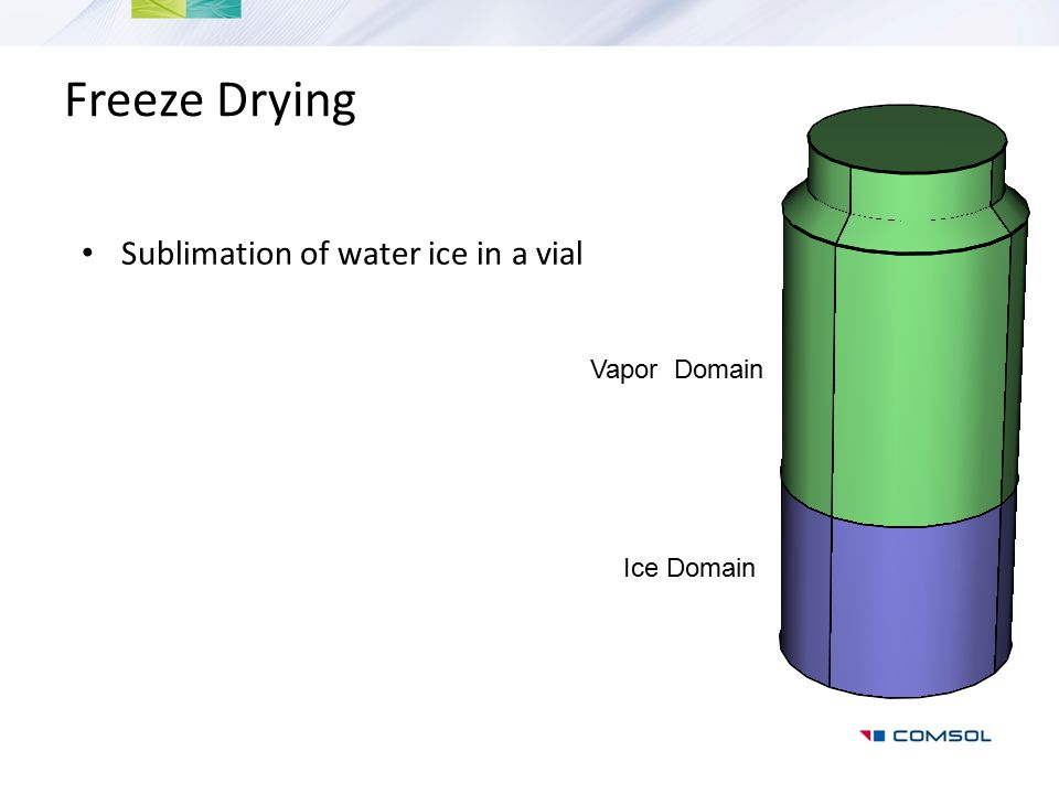 Freeze Drying Sublimation of water ice in a vial Vapor Domain
