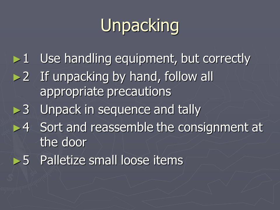 Unpacking 1 Use handling equipment, but correctly