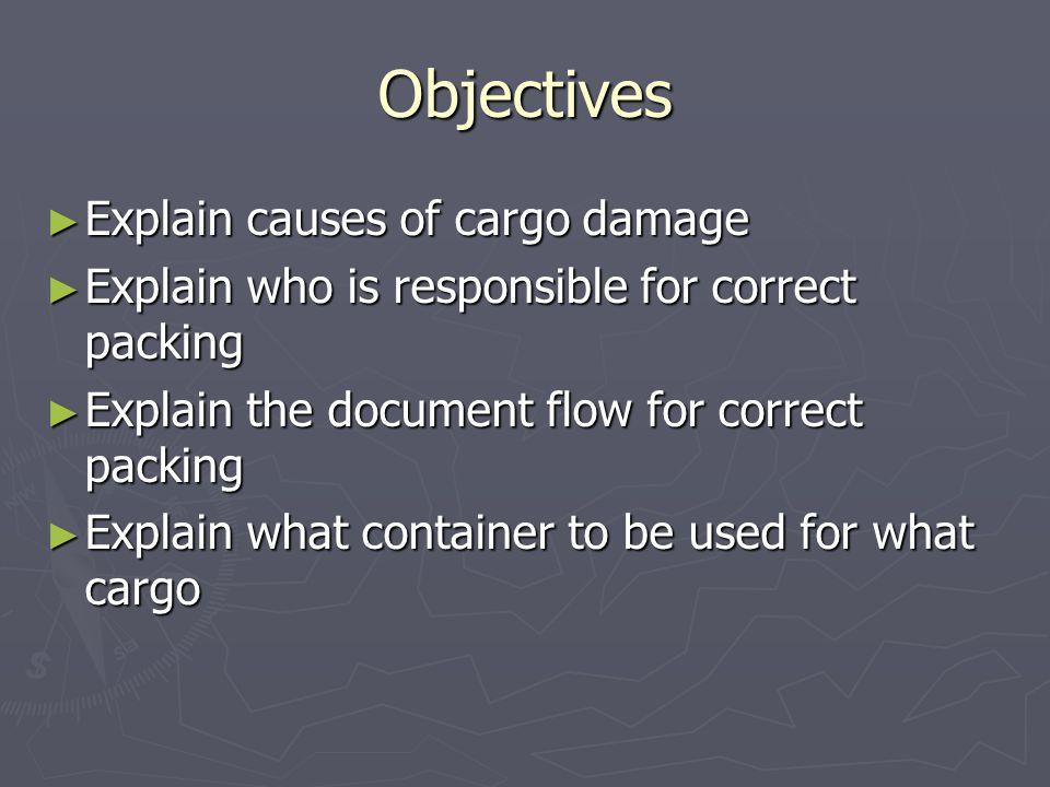 Objectives Explain causes of cargo damage