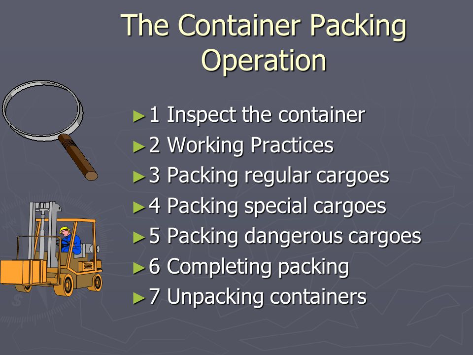 The Container Packing Operation