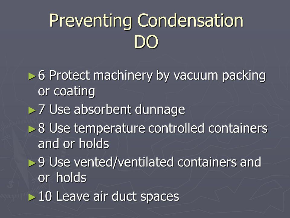 Preventing Condensation DO