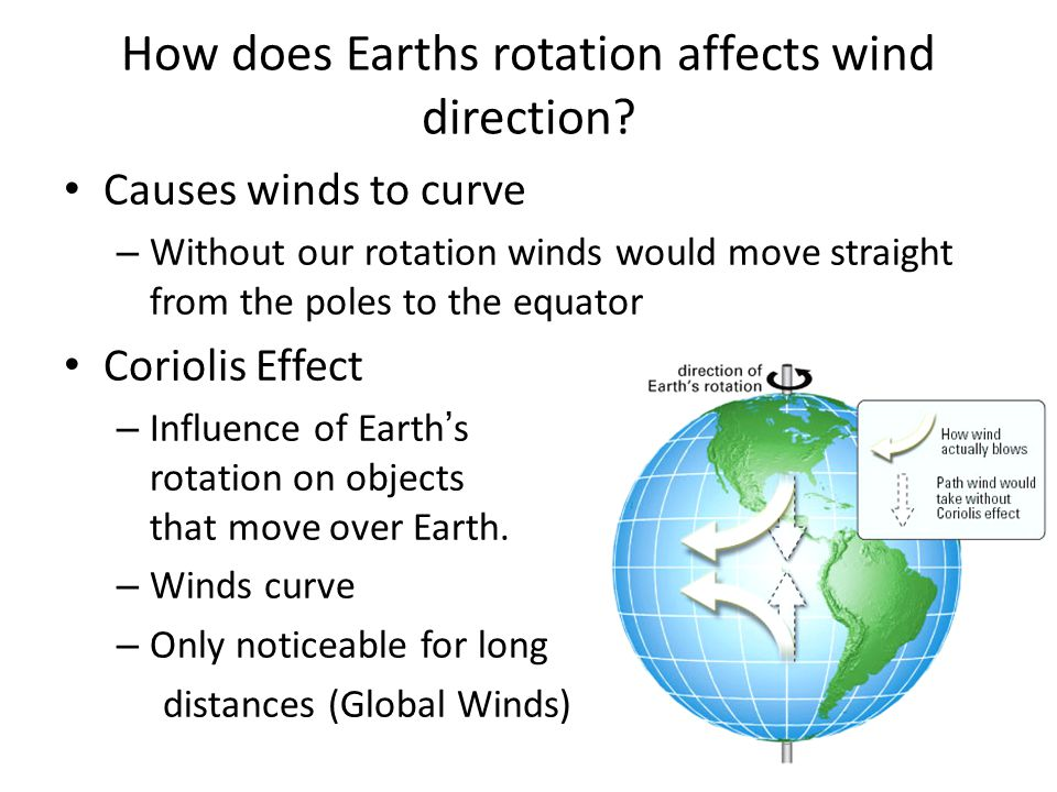 How does Earths rotation affects wind direction