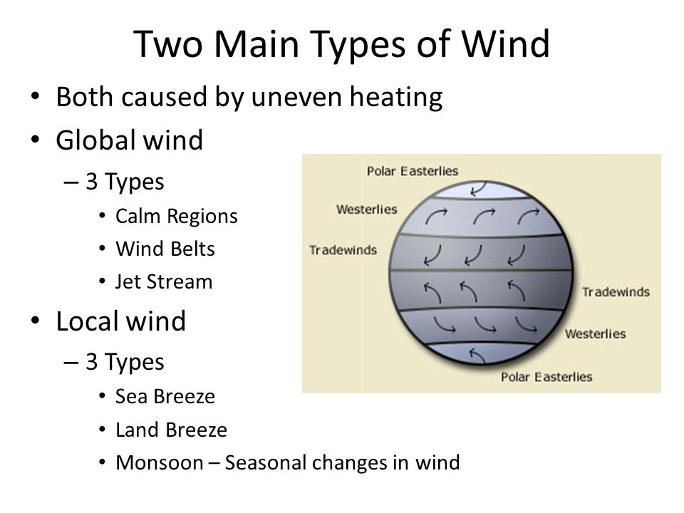 Two Main Types of Wind Both caused by uneven heating Global wind