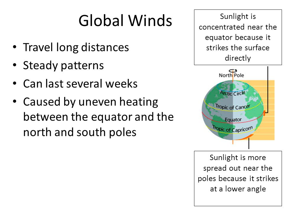 Global Winds Travel long distances Steady patterns