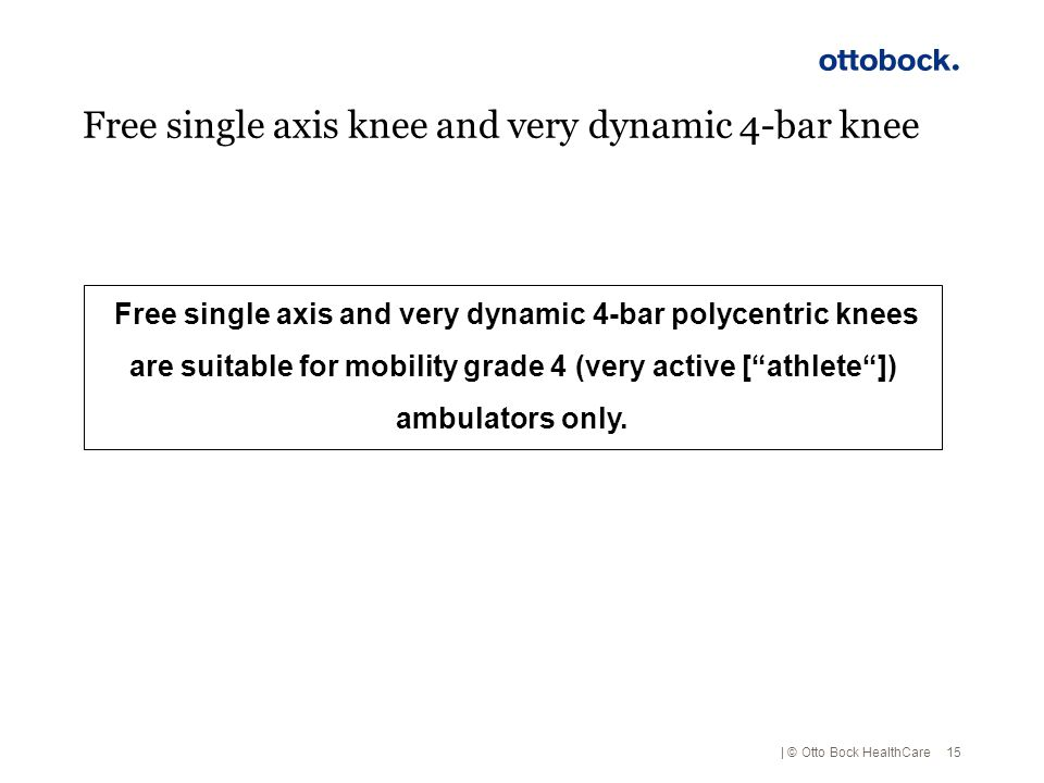 Free single axis knee and very dynamic 4-bar knee