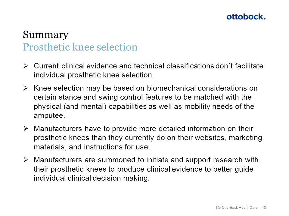 Prosthetic knee selection