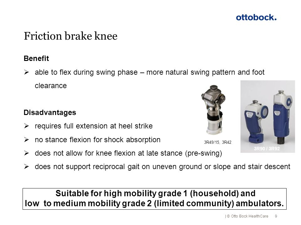 Friction brake knee Benefit. able to flex during swing phase – more natural swing pattern and foot clearance.