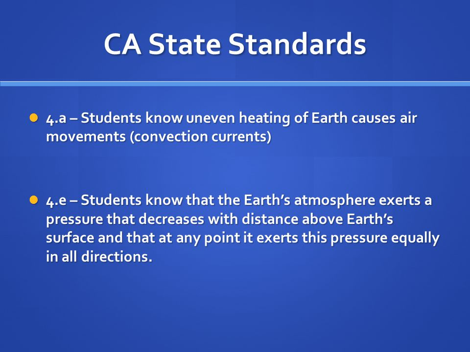 CA State Standards 4.a – Students know uneven heating of Earth causes air movements (convection currents)