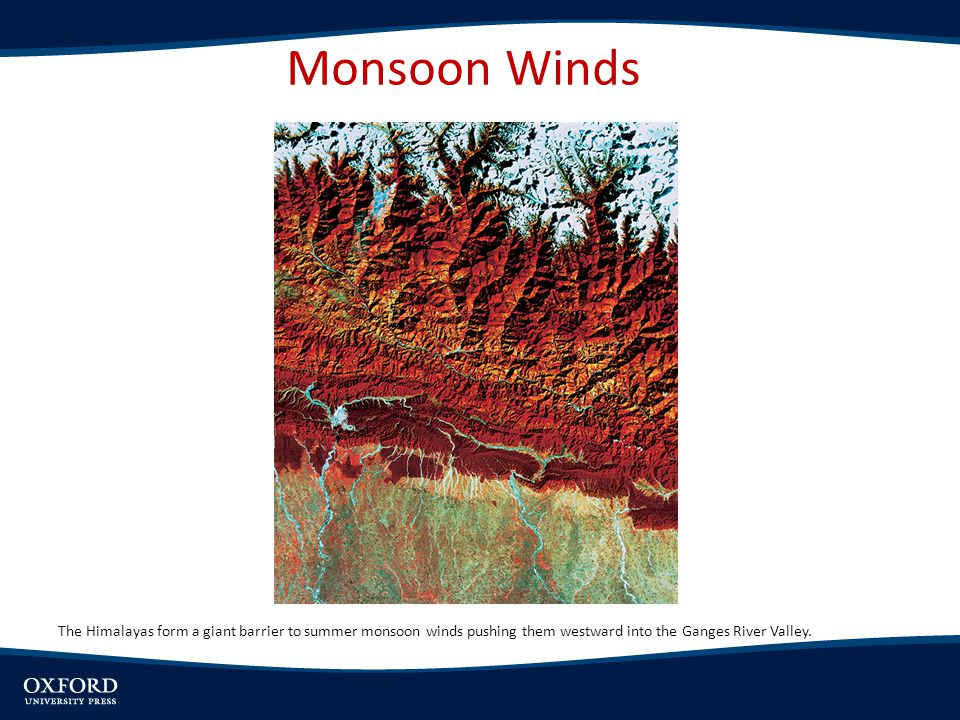 Monsoon Winds The Himalayas form a giant barrier to summer monsoon winds pushing them westward into the Ganges River Valley.